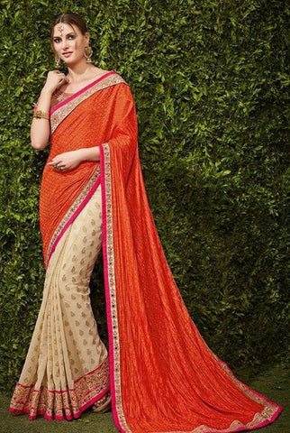 Orange , Beige,Viscose,Party wear heavy designer saree