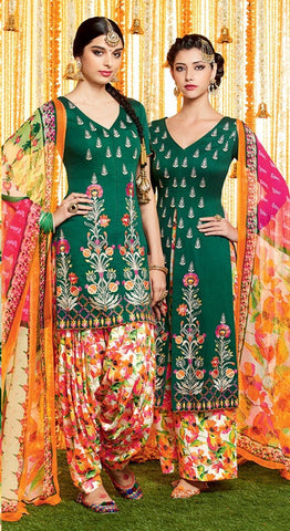 Green  ,Cotton satin,Party wear designer printed salwar suits
