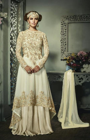 White,Net,Heavy party wear designer ananrkali suits