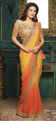 Yellow , Orange,Georgette,Party wear designer saree