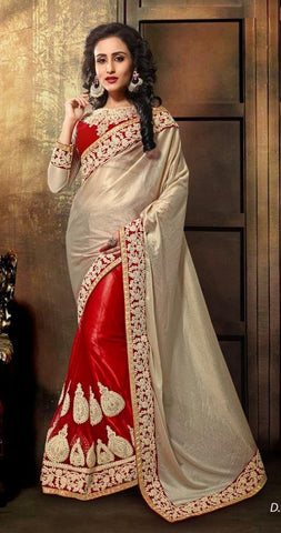 Red , Beige,Lycra,Heavy designer party wear saree