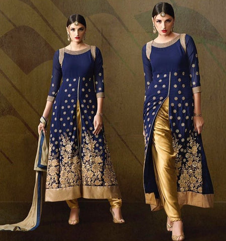 Blue ,Georgette,Heavy designer party wear suits