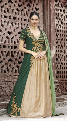 Green And Beige Textured Fabric Double Layered Gown Style Anarkali Suit With Dupatta