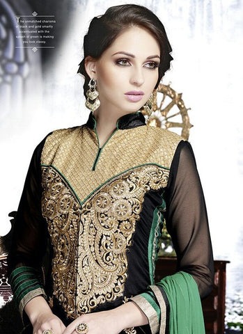 Black and Green Anarkali Suit with work
