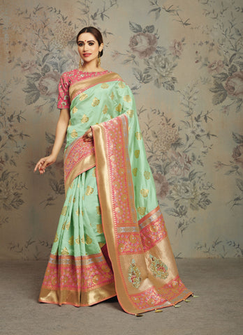 Pastel Green Silk Party Wear Saree With Pink Blouse
