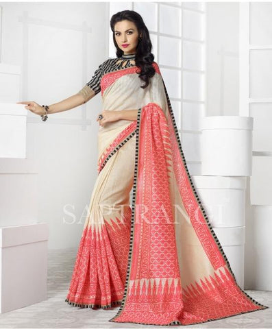 Crean , pink,Bhagalpuri,Designer partywear saree for party