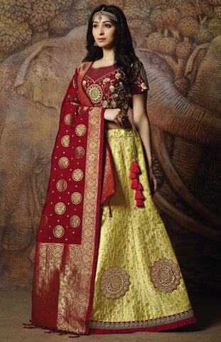 Yellow Silk Party Wear Lehenga With Red Choli