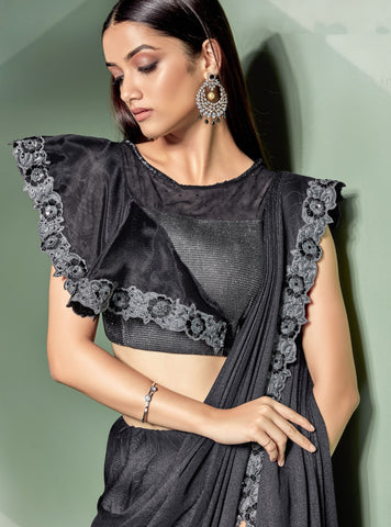 Black Fancy Lycra Party Wear Saree With  Silver Blouse