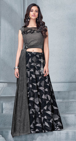 Grey Fancy Lycra Party Wear  Lehenga With Peach Dupatta