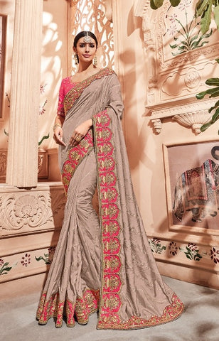 Beige Dola Silk Party Wear  Saree With Pink Blouse