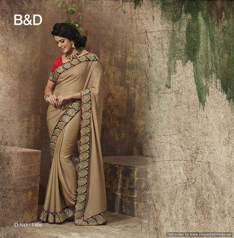 Golden Chiffon Saree with hand work and Embroidery