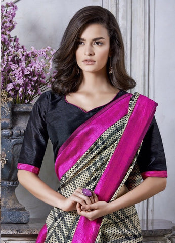 Designer Grey Saree with Black Blouse and Pink Border