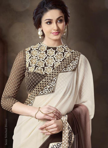 Beige and brown pure chiffon saree with net blouse