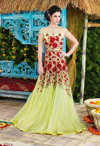 designer long heavy embroidery floor length anarkali gown,Net,Yellow