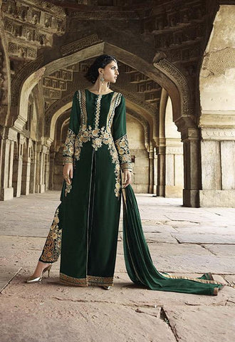 Long designer party wear heavy embroidery suits floor length,Green,Georgette