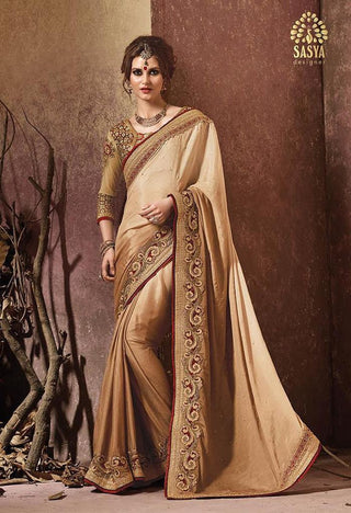Golden color (brown) saree with heavy worked maroon blouse