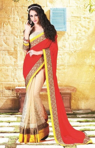 Saree Red & Beige,Half Georgette Half net