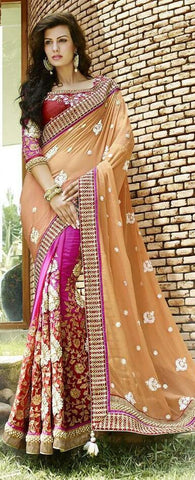 Multicolor,Bemberg,Designer wedding saree with heavy embroidery work