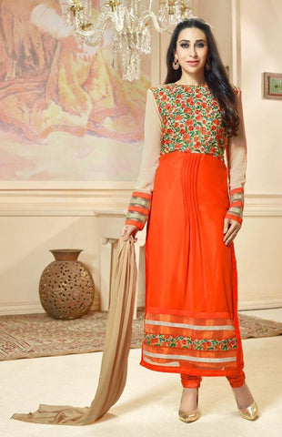 Suits Orange , Beige,Georgette