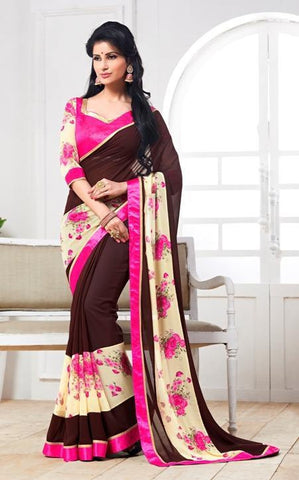 Brown,Georgette,designer causal broder saree with printed blouse