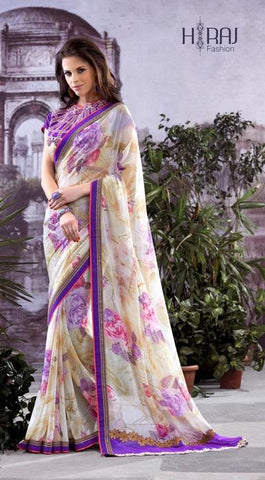 Saree Purple , White,Georgette