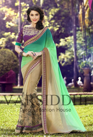 Multi Shaded  green and beige saree and purple blouse with emboridery