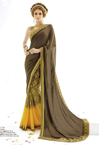 Saree Dark Mehandi , Lemon,Georgetet & Pure Silk