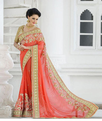 Peach,Georgette,Net,Heavy bridal wedding saree with heavy embroidery blouse