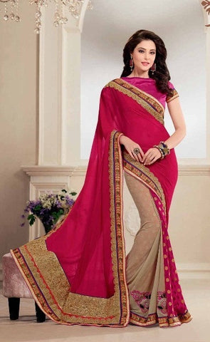 Saree Red , Beige,Half georgette , Half Viscose