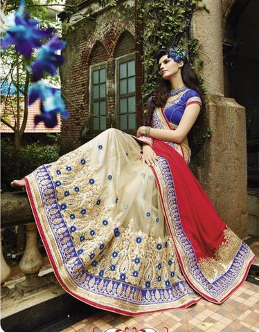 Bridal and party wear beige, blue and red designer half Georgette and half net saree with heavy zardosi work