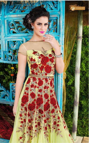 yellow and red heavy embroidery long floor length anarkali frock suits