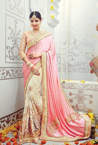 Pink , Cream,Silk,heavy designer party wear saree