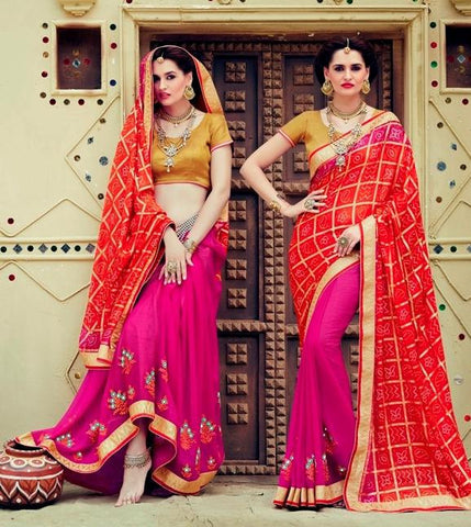 Red , Pink,Georgette,Party wear designer saree with designer blouse