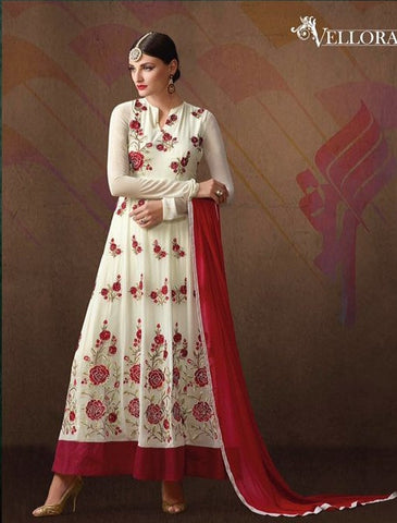White,Georgette,Heavy designer party wear suits
