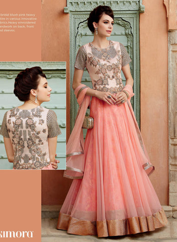 Peach,Net,Anarkali designer party wear suits