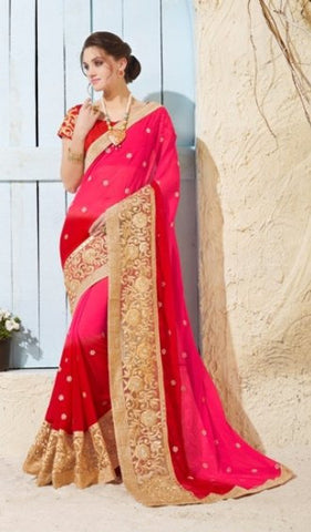 Pink , Red,Chiffon,Designer heavy party wear saree