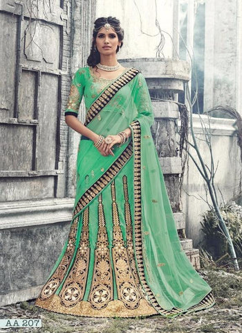 Green,Net,Designer wedding lehenga saree
