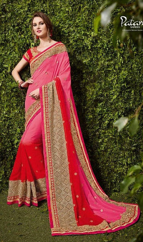 Pink , Red,Chiffon,Party wear heavy designer saree