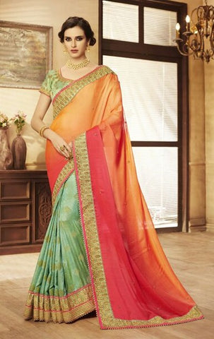 Magenta Georgette Saree With Green Blouse