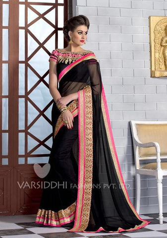 Black,Georgette,Designer party wear saree