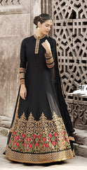 Black Satin Crape Anarkali Suit With Dupatta