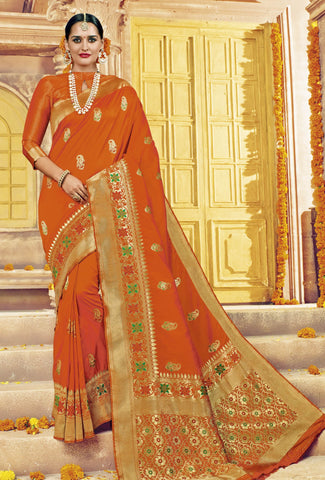 Orange,Silk,Banarsi silk saree