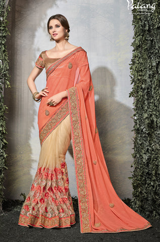 Peach & Beige,Silk,Party wear designer heavy saree