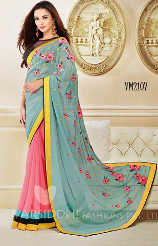 Blue , pink,Georgette,Casual designer saree