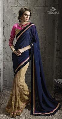 Blue , Beige,Net,Heavy wedding wear designer saree