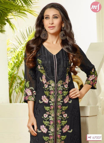 Black embroidered knee length salwar suits with pink dupatta
