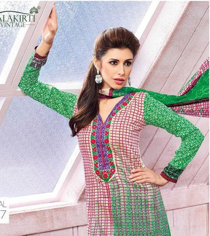 Green printed straight knee length salwar suits dress material