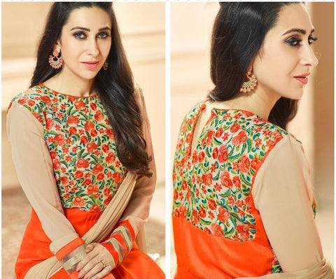 Orange designer embroidered straight long salwar suits