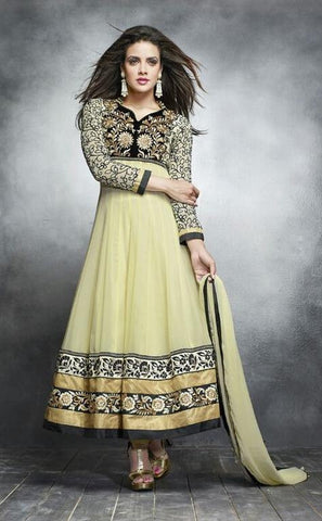 Cream,Georgette,Designer suits,suits,party wear,anarkali,embroidered suits,heavy suits,kaya,salwar suits,salwar