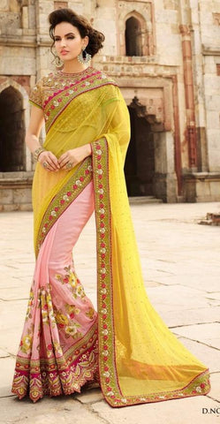 Light pink plus lime yellow,Net ,Heavy bridal wedding saree with heavy embroidery blouse